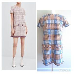 Zara Tweed Fringe Dress